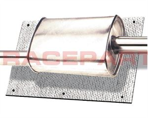 Thermotec muffler/catalytic converter heat shield with Raceparts.